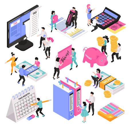 Conjunto de contabilidad isométrica de imágenes conceptuales con personajes de personas pequeñas y varios objetos y elementos del espacio de trabajo ilustración vectorial