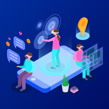 Online communicating and playing with augmented reality devices isometric composition 3d vector illustration