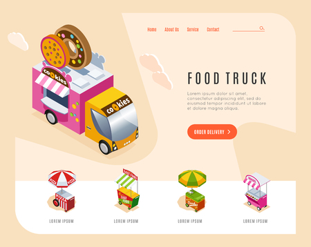 Food truck advertising landing page with isometric images of street van and carts vending bakery vector illustration Illustration