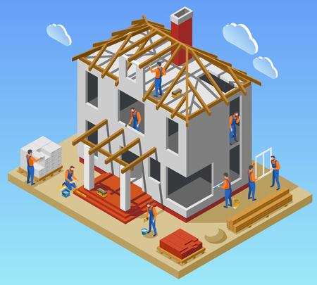 Isometrisches Plakat der Hausbauphasen mit einem Team von Arbeitern, die in der unvollendeten Gebäudevektorillustration arbeiten Vektorgrafik