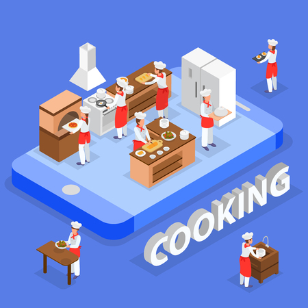 Isometric food order composition with italian restaurant staff cooking in kitchen 3d vector illustration Illustration