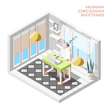 Human circadian rhythms isometric composition with isolated room and woman sleeping at the desk vector illustration