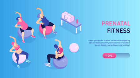 Women at prenatal fitness classes in gym horizontal isometric banner 3d vector illustration Foto de archivo - 124189764