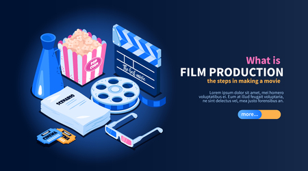 Isometric movie cinema flowchart concept with images of random cinema-related items text and slider button vector illustration