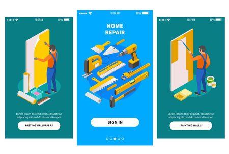 Home repair isometric banners for mobile app design offering firms engaged in repair works vector illustration