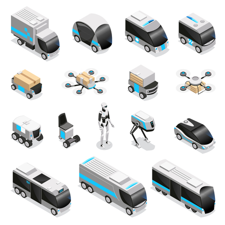 Automated robot delivery isometric icons collection with cute remote controlled humanoid quadruple drone unmanned vehicles vector illustration