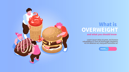 Isometric overeating gluttony banner with slider button editable text and characters of fat people with sweets vector illustration Illustration