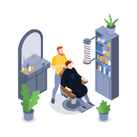 Isometric barbershop composition with male stylist and his client having hair cut 3d vector illustration