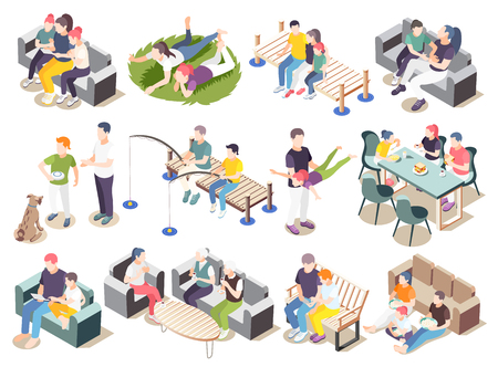 Time together isometric icon set spend time situations with friends family parents and lovers vector illustration