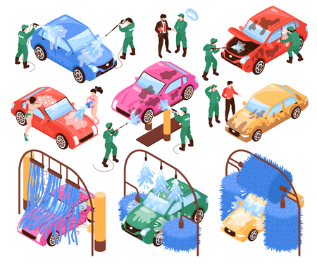 Isometric car washing services set of isolated images workers in uniform and cars on blank background vector illustration