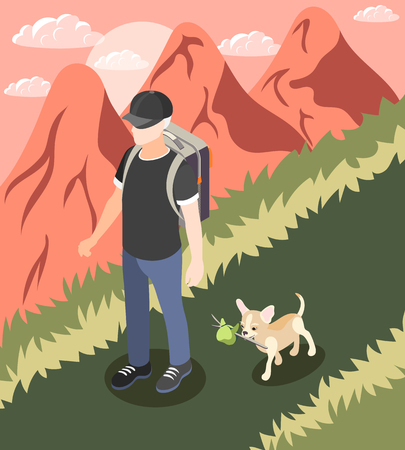 Ordinary life of man and his dog isometric background man walk with little cute dog vector illustration  イラスト・ベクター素材