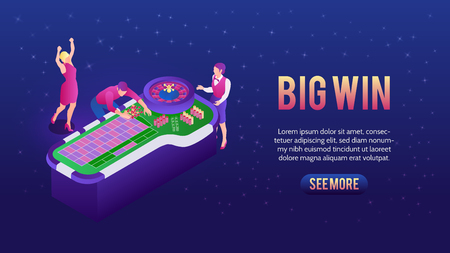People playing roulette and winning in casino 3d isometric vector illustration Illustration