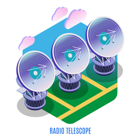 Astrophysics isometric background composition with astronomical interferometer array of separate radio telescopes antennas working together vector illustration  Illustration