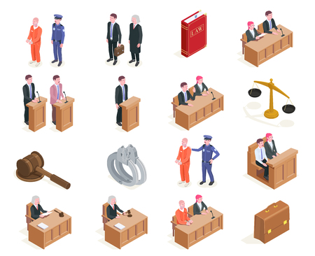 Law justice isometric icons collection of sixteen isolated images with human characters during sitting of court vector illustration