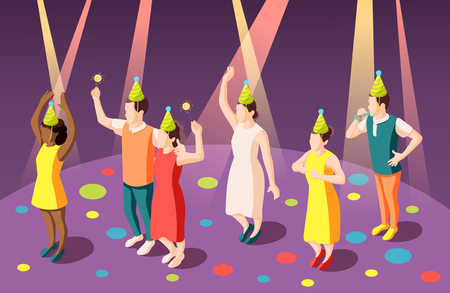 Birthday party isometric composition with funny people in clown hats in spotlights vector illustration