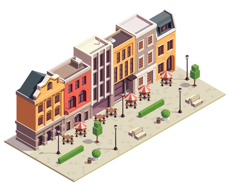 Modern city street isometric view with 5 colorful terraced houses lanterns benches outdoor bistro tables vector illustration