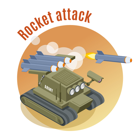 Rocket attack round background with shooter robot tank in engaged war action isometric vector illustration
