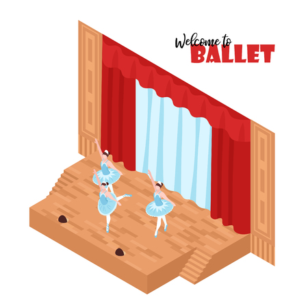 Three ballerinas performing on theatre stage 3d isometric vector illustration Illustration