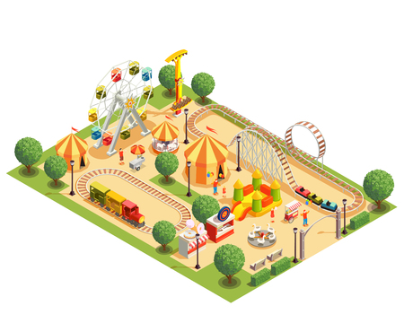 Amusement park with roller coaster carousels ferris wheel tents isometric composition on white background 3d vector illustration