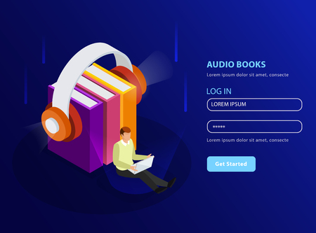 Audio books isometric background in landing page template format with headphones and stack of textbooks glow icons vector illustration Illustration