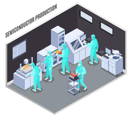 Composition de production de semi-conducteurs avec technologie et symboles de laboratoire illustration vectorielle isométrique