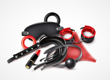 Woman sex toys realistic design concept in red and black colors with lipstick handcuff and lash vector illustration Illustration
