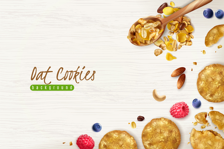 Oatmeal cookies realistic background with scattered oat flakes grains and fresh berries vector illustration 스톡 콘텐츠 - 124138705