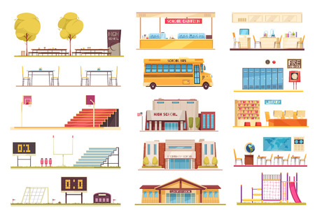 School facilities flat elements collection with sport stadium yellow bus building facade classroom bibliotheek interior vector illustration