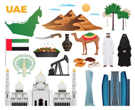 Colección de iconos planos de viaje de los Emiratos Árabes Unidos con monumentos bandera nacional ropa cocina montañas arquitectura moderna mezquita ilustración vectorial Ilustración de vector