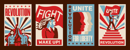 Rivoluzione 4 che promuovono manifesti costruttivisti con inviti a sciopero lotta unità libertà vintage illustrazione vettoriale isolato Vettoriali