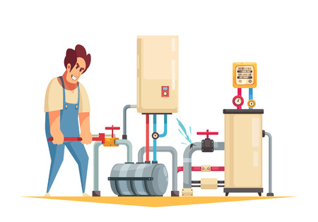 Boiler repair plumber service flat cartoon composition with fixing burst pipes turning off water valve vector illustration