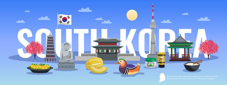 South korea tourism horizontal composition with doodle style pictures of traditional items cultural sights and text vector illustration