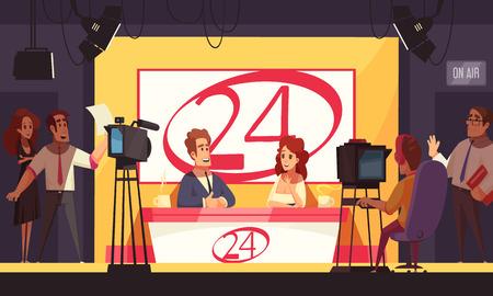 Eventos de TV en vivo que rompen la política de noticias las 24 horas que transmiten composición de dibujos animados con reporteros en la ilustración de vector de estudio