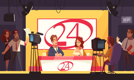 TV-Live-Ereignisse, die Nachrichtenpolitik 24 Stunden lang ausstrahlen, die Cartoon-Komposition mit Reportern in Studiovektorillustration ausstrahlt