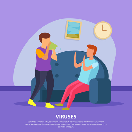 Viruses flat domestic background with two contacting characters one of whom is sick vector illustration