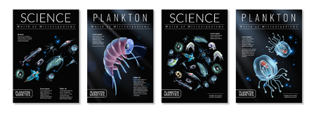 Set of four posters on theme of plankton varieties as template for magazine articles brochures book covers vector illustration Illustration