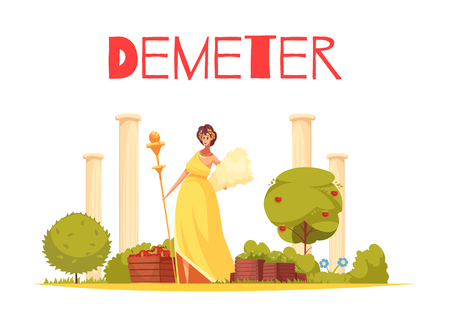 Demeter cartoon composition with elegant figurine of greek goddess standing on ancient architecture background flat vector illustration Illustration