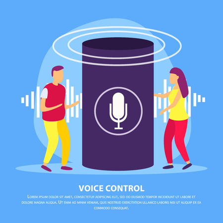 Smart speaker with voice control flat background with young couple demonstrating device for their smart home vector illustration Illustration