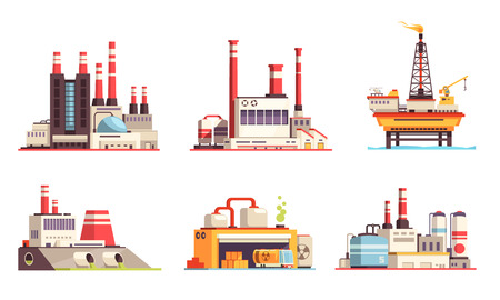 Industrial buildings flat set of petroleum industry power plants power stations oil offshore platform isolated vector illustration