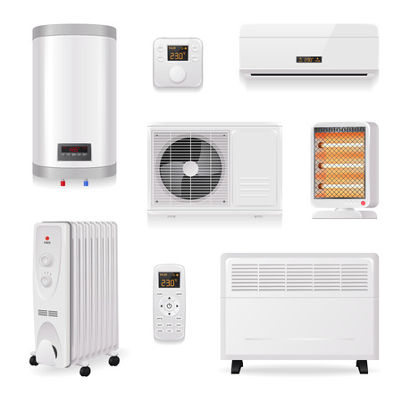 Climate control equipment realistic set with air conditioning symbols isolated vector illustration Illustration