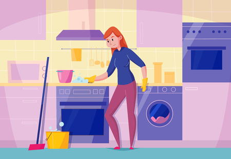 Kitchen maintenance service flat composition with woman cleaning stove top with sponge stylish dishwasher oven vector illustration