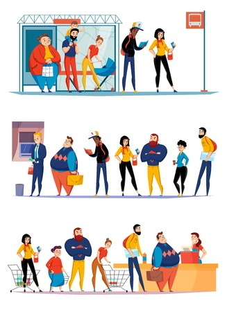 People queuing in supermarket waiting bus checkout lining up for atm cash flat horizontal sets vector illustration Illustration