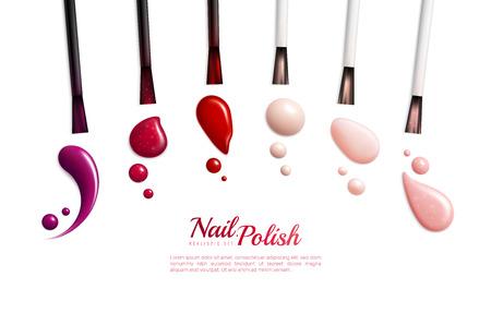 Vernis à ongles frottis icône isolé réaliste sertie de différentes couleurs et styles illustration vectorielle