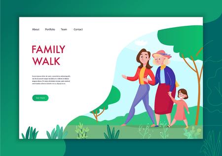 Drei-Generationen-Familie, die Zeit zusammen verbringt, flaches Konzeptbanner mit Oma-Mutter-Kind, die Vektorillustration im Freien geht