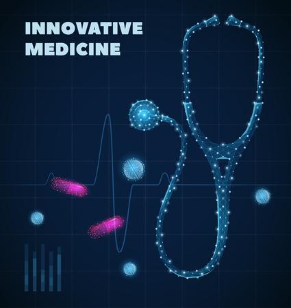 Innovatives Medizinplakat mit realistischer Vektorillustration der Symbole der Gesundheitsindustrie Vektorgrafik