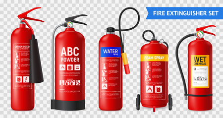 Realistic fire extinguisher set with isolated portable fire-fighting units of different shape on transparent background vector illustration Stockfoto - 119846525