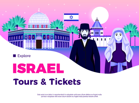 Israel travel background with tours and tickets symbols flat vector illustration Illustration