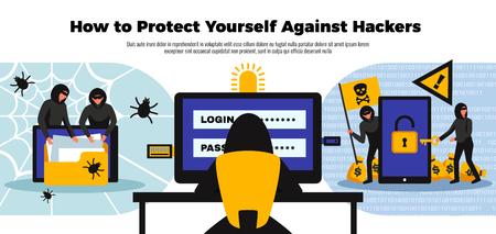Hacker background with online security system symbols flat vector illustration