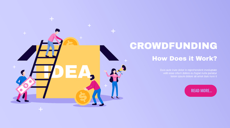 Crowdfunding money raising essentials horizontal flat website banner with ideas box and read more button vector illustration Иллюстрация