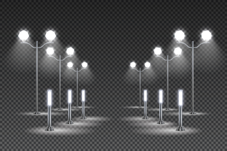 Outdoor garden lighting design with tall lanterns and solar led street lights dark transparent background vector illustration  イラスト・ベクター素材